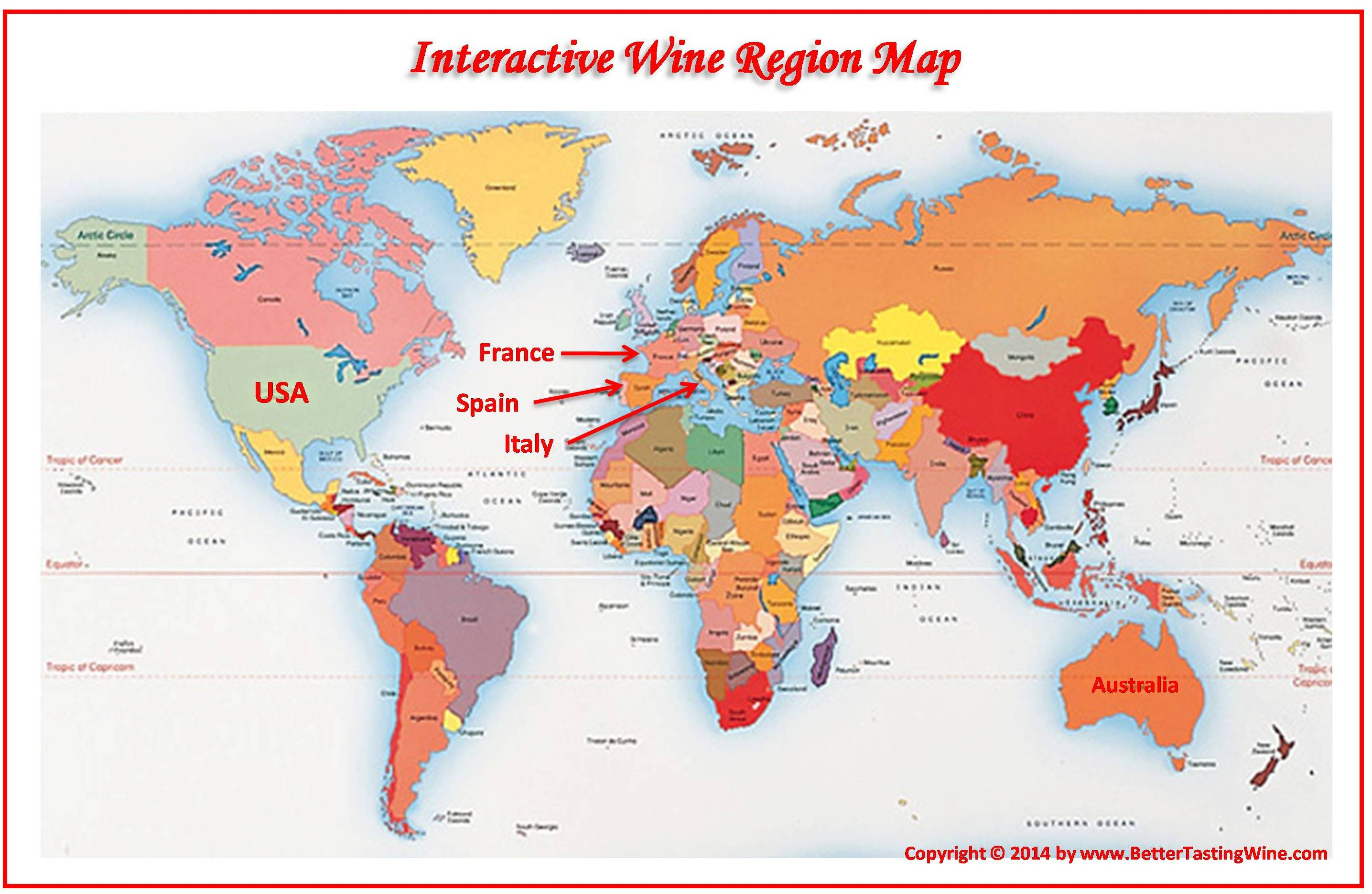 BetterTastingWine Wine Maps - Us wine regions map